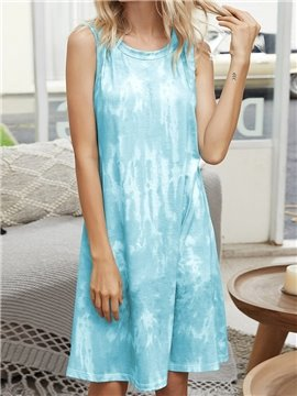 Casual Mint Gradient Women's Nightgowns Loose Home Dress for Spring and Summer