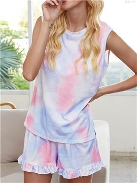 Stringy Selvedge Shorts Round Neck Sleeveless Two Piece Sets Color Gradient Women's Pajama Suit