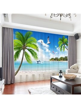 3D Beach Scenery Decoration 2 Panels Sheer Curtains for Living Room 30% Shading Rate No Pilling No Fading No off-lining