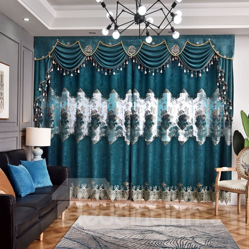 European Floral Embroidery Hollowed-out Blackout Curtains For Living Room Custom 2 Panels Decoration Drapes No Pilling No Fading No Off-lining