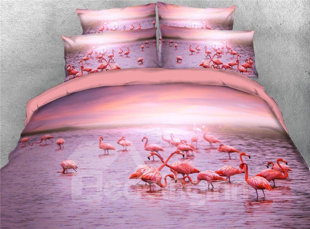 Flamingo Skin-friendly All-Season Four-Piece Set Duvet Cover Set Machine Wash Polyester Bedding Sets Flamingo Skin-friendly All-Season Four-Piece Set Duvet Cover Set Machine Wash Polyester Bedding Sets