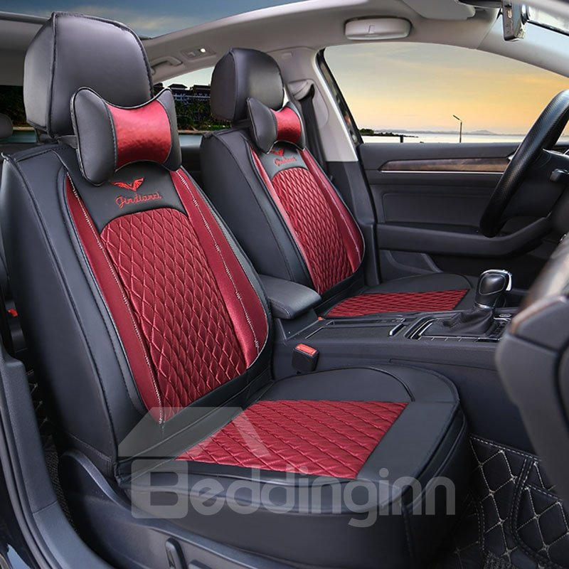 2 Headrests 5 Seats Universal Fit Seat Covers Pu Leather Sport Seat Cover Full Coverage Soft Wear-resistant Durable Skin-friendly Man-made Pu Leather Airbag Compatible 5-seater Universal Fit Seat Covers