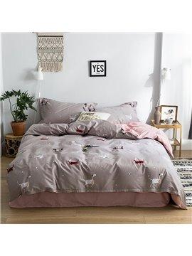 Animal Simple Sheet Set Four-Piece Set Cotton Bedding Sets Endurable Skin-friendly King Full Queen