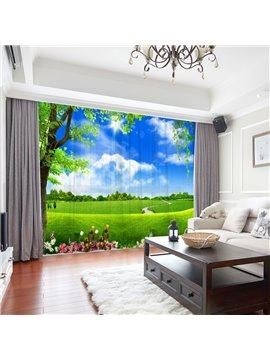 Modern 3D Chiffon Field Scenery Decoration Sheer Curtains for Living Room 30% Shading Rate No Pilling No Fading No off-lining