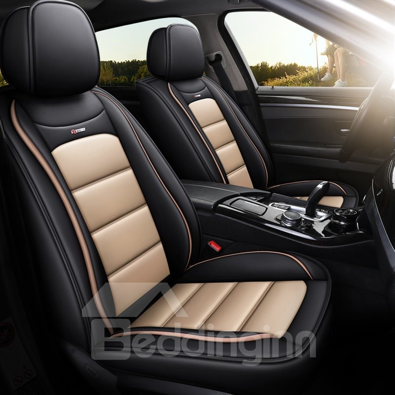 Pu Leather ϼ? Breathable Cotton Linen Material 5 Seats Universal Fit Seat Covers Full Coverage With Waterproof Leather Wear-resistant Dirty-resistant Universal Fit Seat Covers