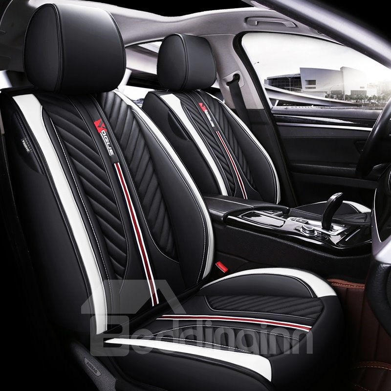 Color Block Pu Sport Cotton Seat Cover 5 Seats Universal Fit Seat Covers Full Coverage With Waterproof Leather Wear-resistant Dirty-resistant Universal Fit Seat Covers