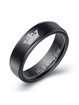 Her King His Queen Gift Rings Titanium Steel Couple Ring Stainless Steel Couple Ring Can Be Engraved ( Please Write The Words You Want To Print In The Order)