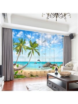 3D Modern Beach Scenery Coconut Trees Print Decoration 2 Panels Sheer Curtains for Living Room 30% Shading Rate No Pilling No Fading No off-lining