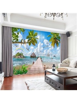 Modern Sea Scenery Coconut Trees 3D Print Decoration 2 Panels Sheer Curtains for Living Room 30% Shading Rate No Pilling No Fading No off-lining