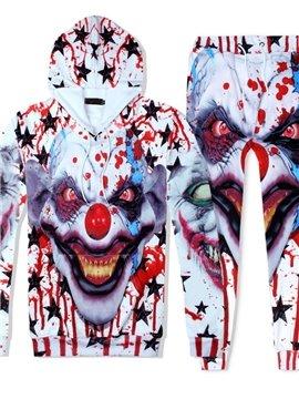 3D Bloodstain Joker Printed Tracksuit Set Spring Fall Casual Fit Sweatshirts Hoodies Pullovers Sweatpants Men Suit 2 Pcs