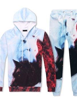 3D Black and White Foxes Printed Tracksuit Set Spring Autumn Casual Fit Sweatshirts Hoodies Pullovers Sweatpants Men Suit 2 Pcs