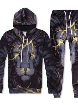 3D Lightning Lion Head Printed Tracksuit Set Spring Autumn Casual Fit Sweatshirts Hoodies Pullovers Sweatpants Men Suit 2 Pcs