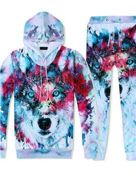 3D Creative Inkjet Printing Wolf Printed Tracksuit Set Spring Autumn Casual Fit Sweatshirts Hoodies Pullovers Sweatpants Men Suit 2 Pcs