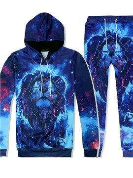 Blue 3D Galaxy Lion Head Hoodie Sweatshirts Sweatpants Tracksuits Streetwear Casual Print Spring Autumn Men's Sets