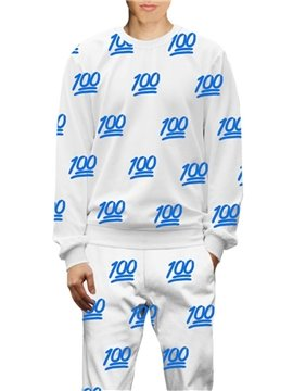 3D White and Blue Full Mark All Over Printed Hoodie Sweatshirts Sweatpants Tracksuits Streetwear Sets Casual Print Spring Autumn Men's Outfit