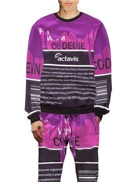 3D Purple English Letters Printed Hoodie Sweatshirts Sweatpants Tracksuits Streetwear Casual Print Spring Fall Men's Sets