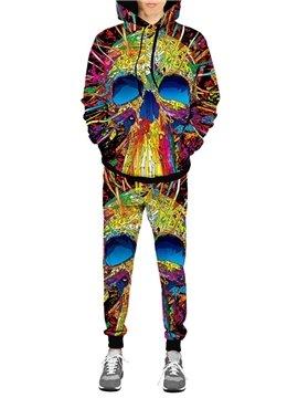 3D Colourful Skull Printed Hoodie Sweatshirts Sweatpants Tracksuits Streetwear Casual Print Spring Fall Men's Sets