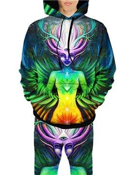 3D Colourful Deer Head Woman Printed All Over Printed Hoodie Sweatshirts Sweatpants Tracksuits Streetwear Casual Print Spring Autumn Men's Sets