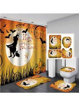 3D Cartoon Happy Halloween Printed Waterproof and Mildewproof Polyester Shower Curtain