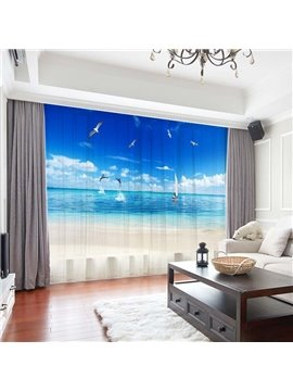 3D Modern Ocean Scenery Printed Decoration 2 Panels Sheer Curtains for Living Room Bedroom 30% Shading Rate No Pilling No Fading No off-lining