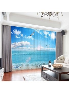 3D Modern Ocean Landscape Decoration Chiffon 2 Panels Sheer Curtains for Living Room 30% Shading Rate No Pilling No Fading No off-lining