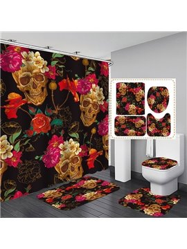 3D Skulls and Flowers Printed Polyester Waterproof Antibacterial and Eco-friendly Shower Curtain