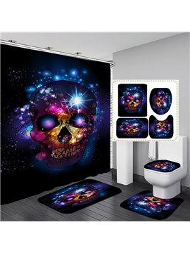 3D Skull Printed Polyester Waterproof Antibacterial and Eco-friendly Shower Curtain