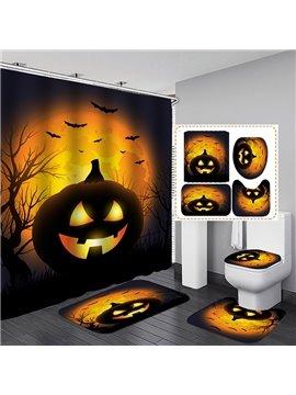 3D Halloween Night Pumpkin Printed Polyester Waterproof Antibacterial and Eco-friendly Shower Curtain