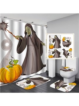 3D Halloween Witch and Pumpkin Printed Polyester Waterproof Antibacterial and Eco-friendly Shower Curtain