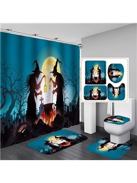 3D Print Halloween Night Polyester Waterproof Antibacterial and Eco-friendly Shower Curtain