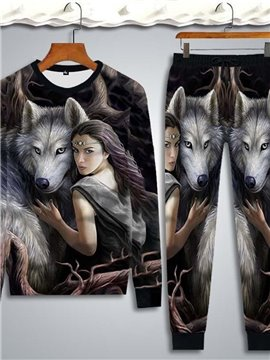 3D Women and Wolf Printed Hoodie Sweatshirts Sweatpants Tracksuits Streetwear Sets Casual Print Spring Fall Winter Men's Outfit