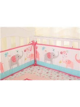 Cute Pink Elephant Printed 4 Baby Crib Bumpers for Girl Baby