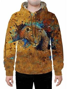 Long Sleeve 3D Creative Leopard Printed Hoodie Sweatshirts Sweatpants Tracksuits Streetwear Sets Casual Print Spring Fall Winter Men's Outfit