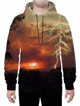 Long Sleeve 3D Creative Lightning Printed Hoodie Sweatshirts Sweatpants Tracksuits Streetwear Sets Casual Print Spring Fall Winter Men's Outfit