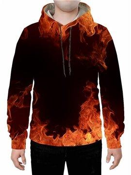 Long Sleeve 3D Flame Printed Hoodie Sweatshirts Sweatpants Tracksuits Streetwear Sets Casual Print Spring Fall Winter Men's Outfit
