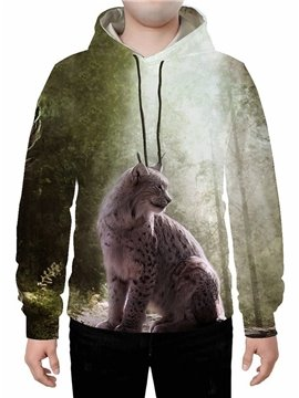 3D Print A Leopard in the Forest Hoodie Sweatshirts Sweatpants Tracksuits Streetwear Sets Casual Print Spring Fall Winter Men's Outfit