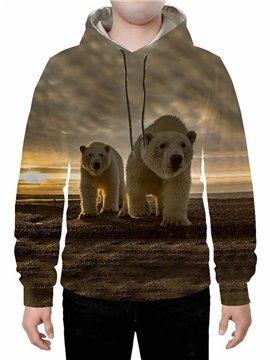 Long Sleeve 3D Polar Bear Printed Hoodie Sweatshirts Sweatpants Tracksuits Streetwear Sets Casual Print Spring Fall Winter Men's Outfit