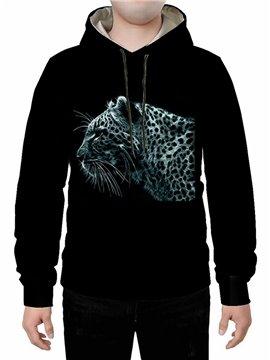 Black 3D Creative Leopard Printed Hoodie Sweatshirts Sweatpants Tracksuits Streetwear Sets Casual Print Spring Fall Winter Men's Outfit