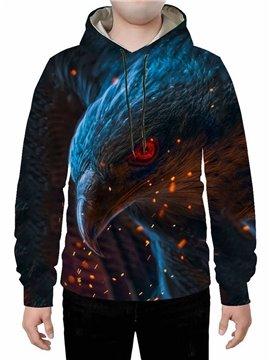 Black 3D Creative Eagle Head Printed Hoodie Sweatshirts Sweatpants Tracksuits Streetwear Sets Casual Print Spring Fall Winter Men's Outfit