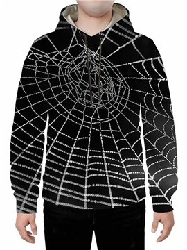 Black 3D Spider Web Printed Hoodie Sweatshirts Sweatpants Tracksuits Streetwear Sets Casual Print Spring Fall Winter Men's Outfit