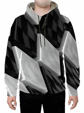 3D Black and White Color Block Printed Black Hoodie Sweatshirts Sweatpants Tracksuits Streetwear Sets Casual Print Spring Fall Winter Men's Outfit