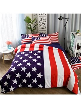 American Flag 4 Piece Duvet Cover Set Polyester with 2 Pillow Shams Flat Sheet Twin Full Queen Size Red Blue