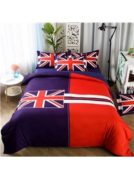 British Flag 4 Piece Duvet Cover Set Polyester with 2 Pillow Shams Flat Sheet Twin Full Queen Size Red Blue