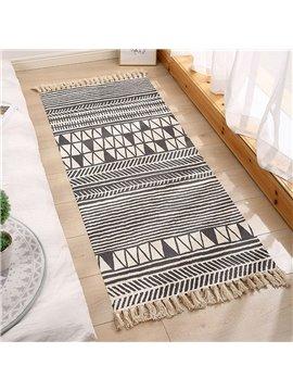 Ethnic Small Area Rug Carpets Mats Rectangle Hand Woven Fringe Modern Washable for Bedroom Doorway Bathroom Living Room Bathroom Laundry Room