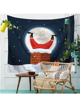 Merry Christmas Santa Moon Snow Chimney Funny Pattern BrickTapestry Wall Hanging Happy New Year Wall Wall Art Decoration for Bedroom Living Room Dorm