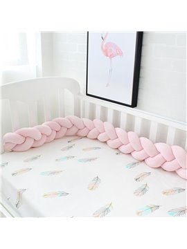 Bedside Protector Soft Knotted Sides Protector Washable Newborn Gift Nursery Decor for Girls Boys Pink Baby Crib Bedding