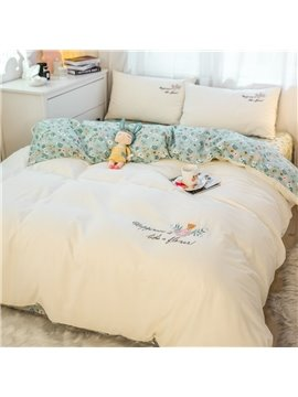 Floral Embroidery Four-Piece Set Duvet Cover Set Hand Wash Cotton Bedding Sets with Pillow Shams Ultra Soft Warm and Durable