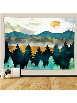 Mountain Sunset Tapestry Forest Tree Tapestry Sunset Tapestry Nature Landscape Tapestry Wall Hanging for Bedroom Dorm Living Room Home Decor