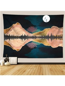 Mountain Moon Tapestry Nature Landscape Inverted Image Tapestry Wall Hanging for Bedroom Dorm Living Room Home Decor