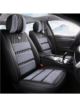 5 Seats Universal Fit Seat Covers Combination of Artificial Leather and Plush Materials Comfortable Soft and Warm Wear-resistant Dirt-resistant and Durable Car Seat Covers